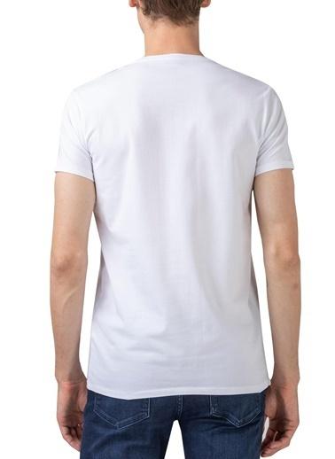 Lacoste  Pamuklu V Yaka T Shirt Erkek T Shırt Th0999 001 Beyaz